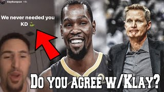 Klay Thompson Reacts to Kevin Durant's Comments about Leaving the Golden State Warriors