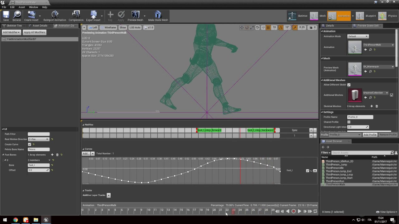Automated foot sync markers using animation modifiers in
