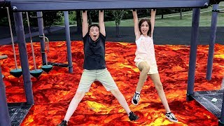THE FLOOR IS LAVA CHALLENGE!! (In Public)