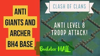 Anti Level 8 Giants and Archer BH4 Base / Replay n Layout / Anti giant builder base / Clash of Clans