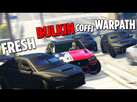 GTA 5 COPS & ROBBERS - Булкин удирает от Банды Ютуба по городу нарушая ПДД!
