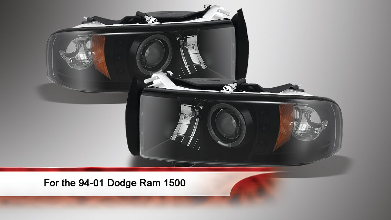 94-01 Dodge Ram 1500 LED Halo Projector Headlights - YouTube