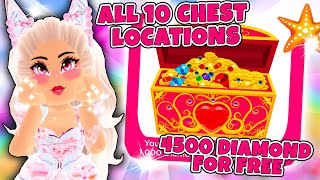 ALL 10 NEW CHEST LOCATIONS And How To Get 4500 DIAMONDS For FREE QUICK in Roblox Royale High School!
