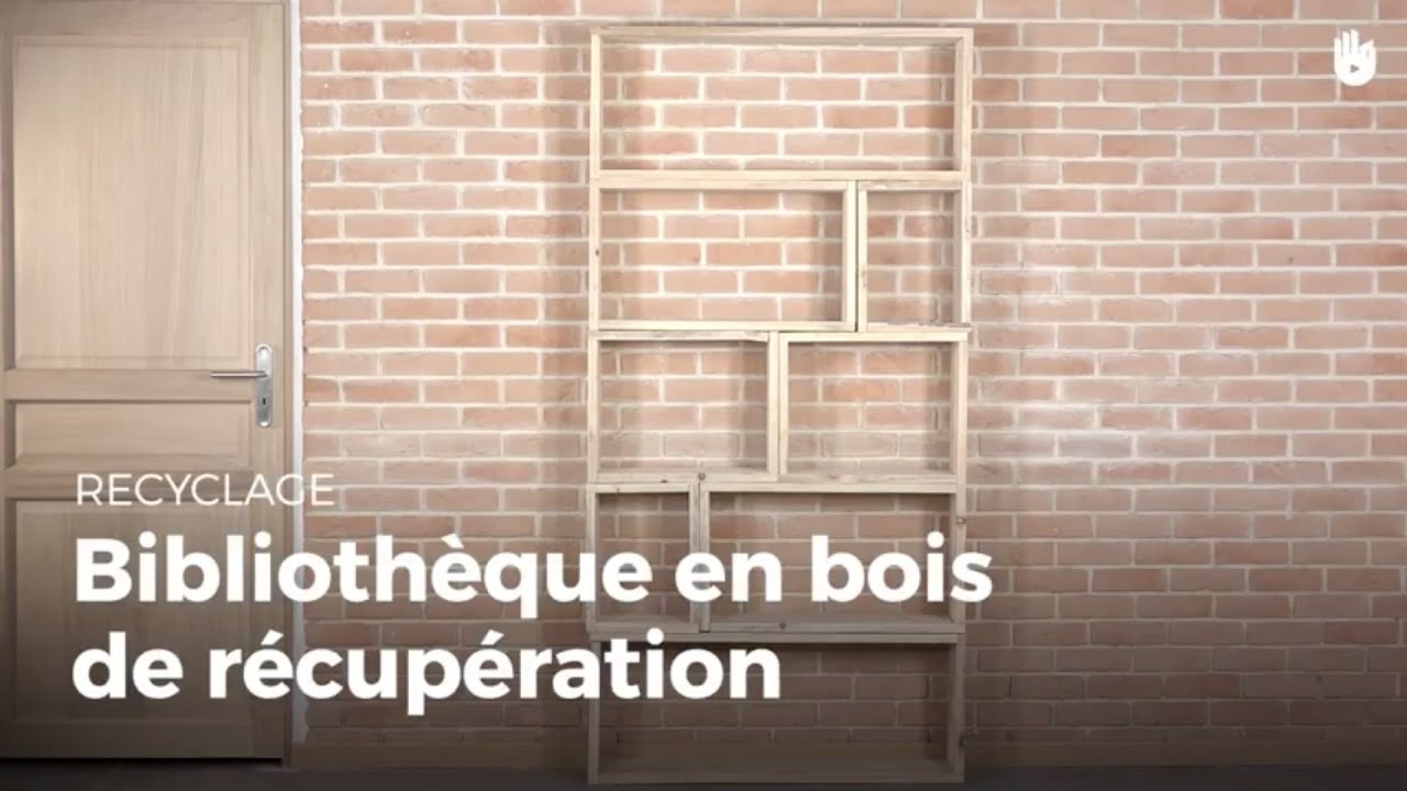 fabriquer une biblioth que en bois de r cup ration. Black Bedroom Furniture Sets. Home Design Ideas