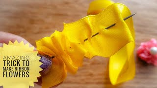 Amazing Ribbon Flower Work|Hand Embroidery design|Ribbon Trick|Easy DIY Ribbon Flowers|Quicky Crafts