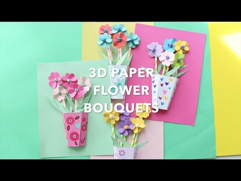 How To Make 3D Paper Flower Bouquets YouTube