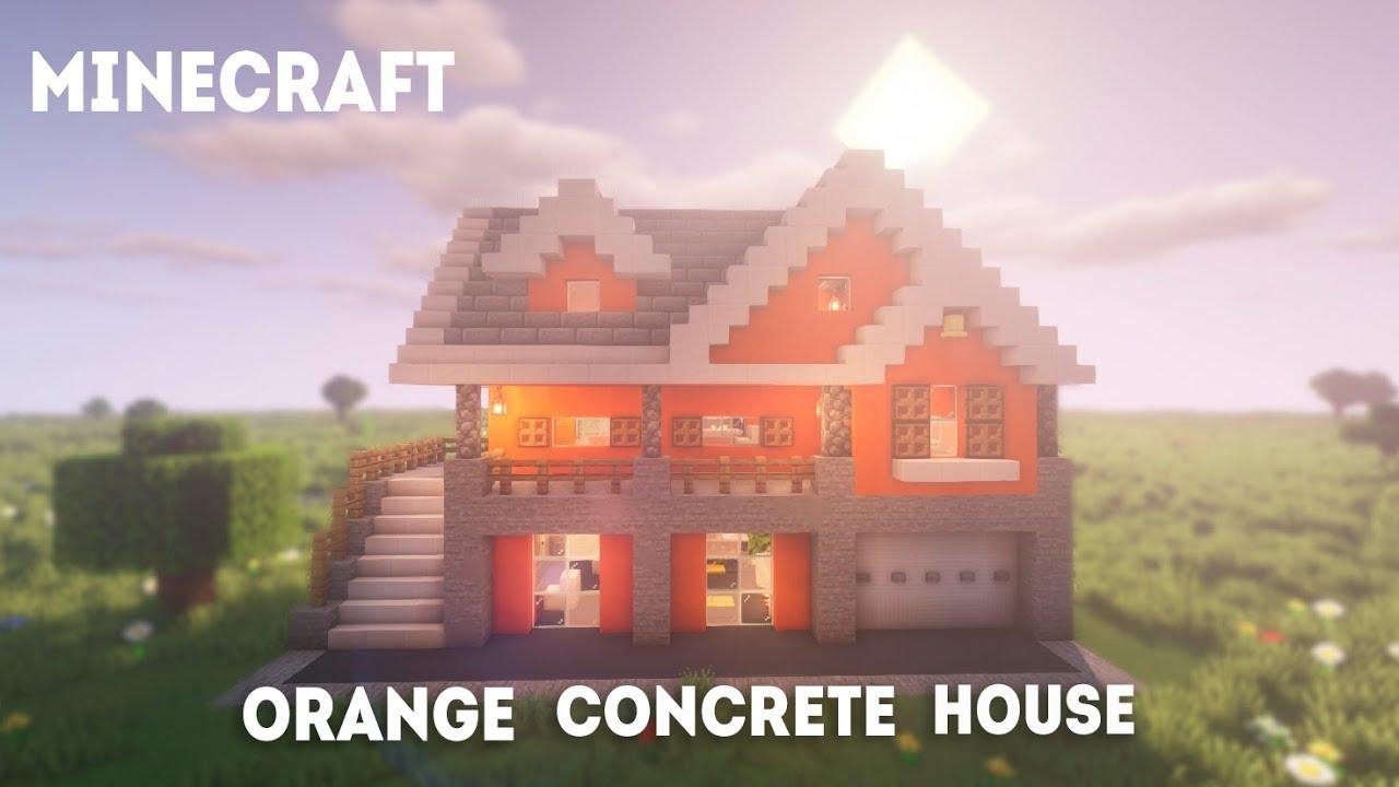 How to build: Orange Concrete House  Minecraft Tutorial