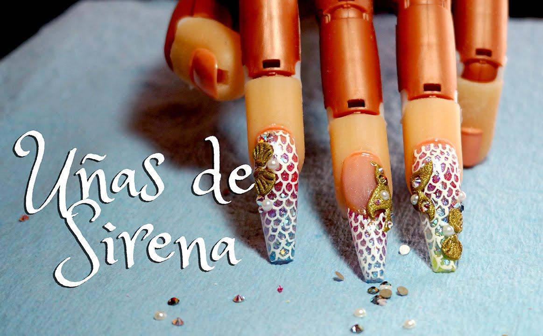 Uñas estilo sirena - Diseño de uñas - YouTube