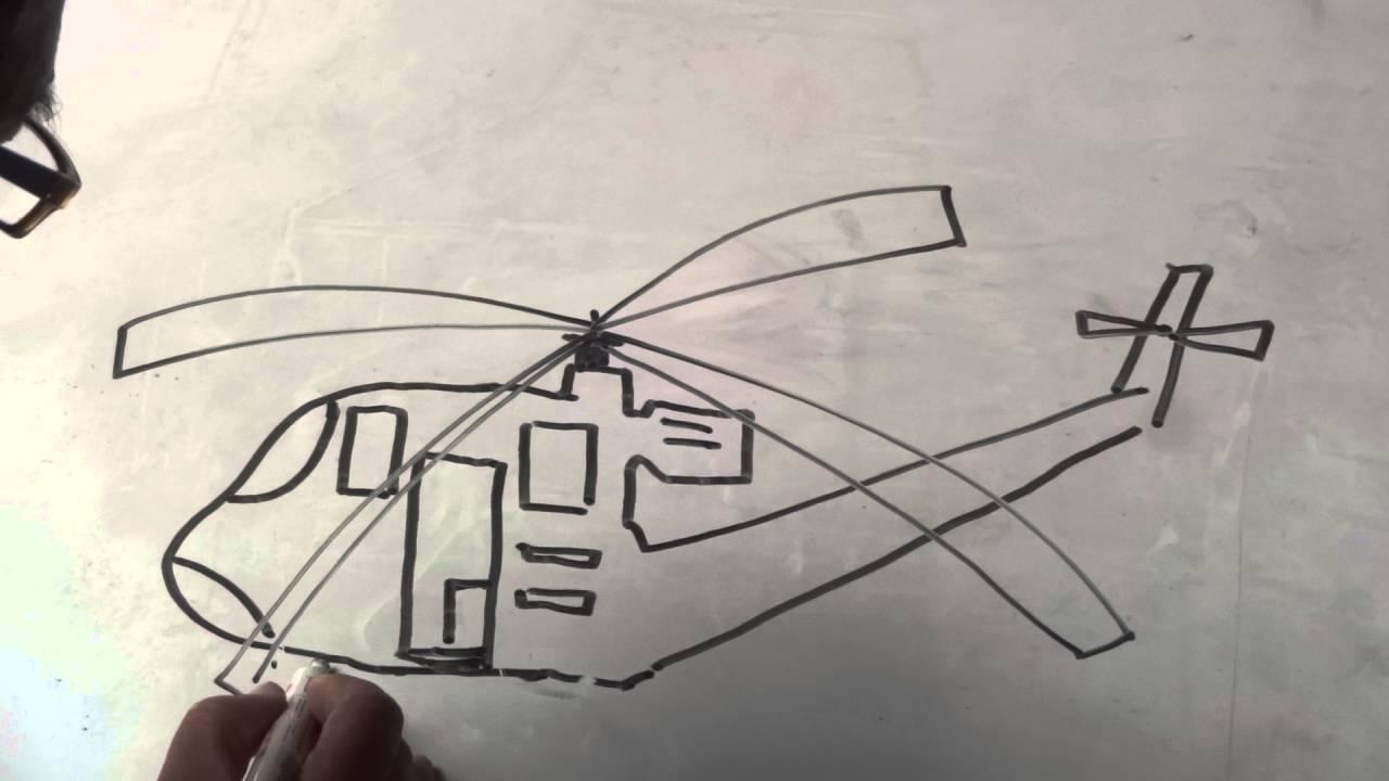 Belajar Menggambar Pesawat Helikopter Untuk Siswa Sd Dan Smp Youtube