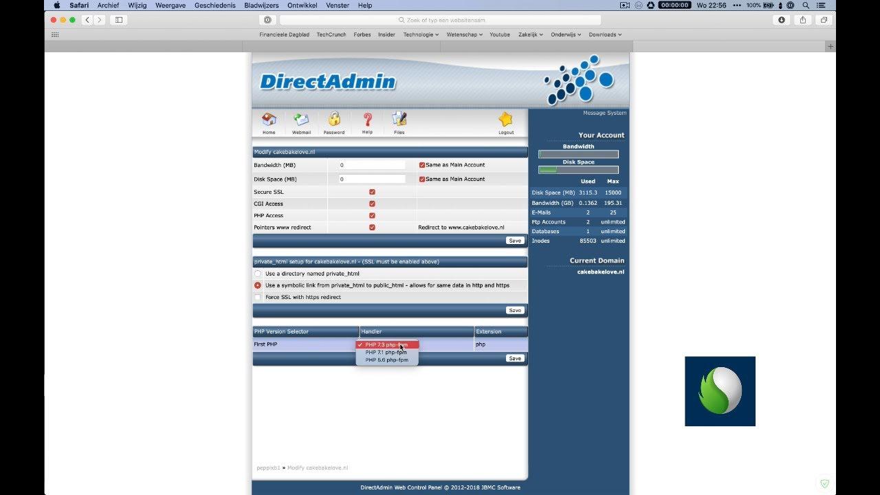 PHP versie binnen DirectAdmin aanpassen