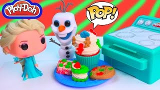 Disney Queen Elsa Christmas Play-doh Sweet Bakin Creations Cookies Cupcakes POP Vinyl Food Oven