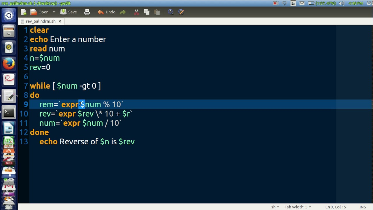 Shell Script To Find Reverse Of A Number And Display If Its