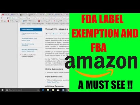 Amazon FBA Food Label Exemption FDA nutritional label exemption does it apply