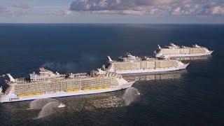 Harmony mit Oasis und Allure: die drei größten Kreuzfahrtschiffe nebeneinander