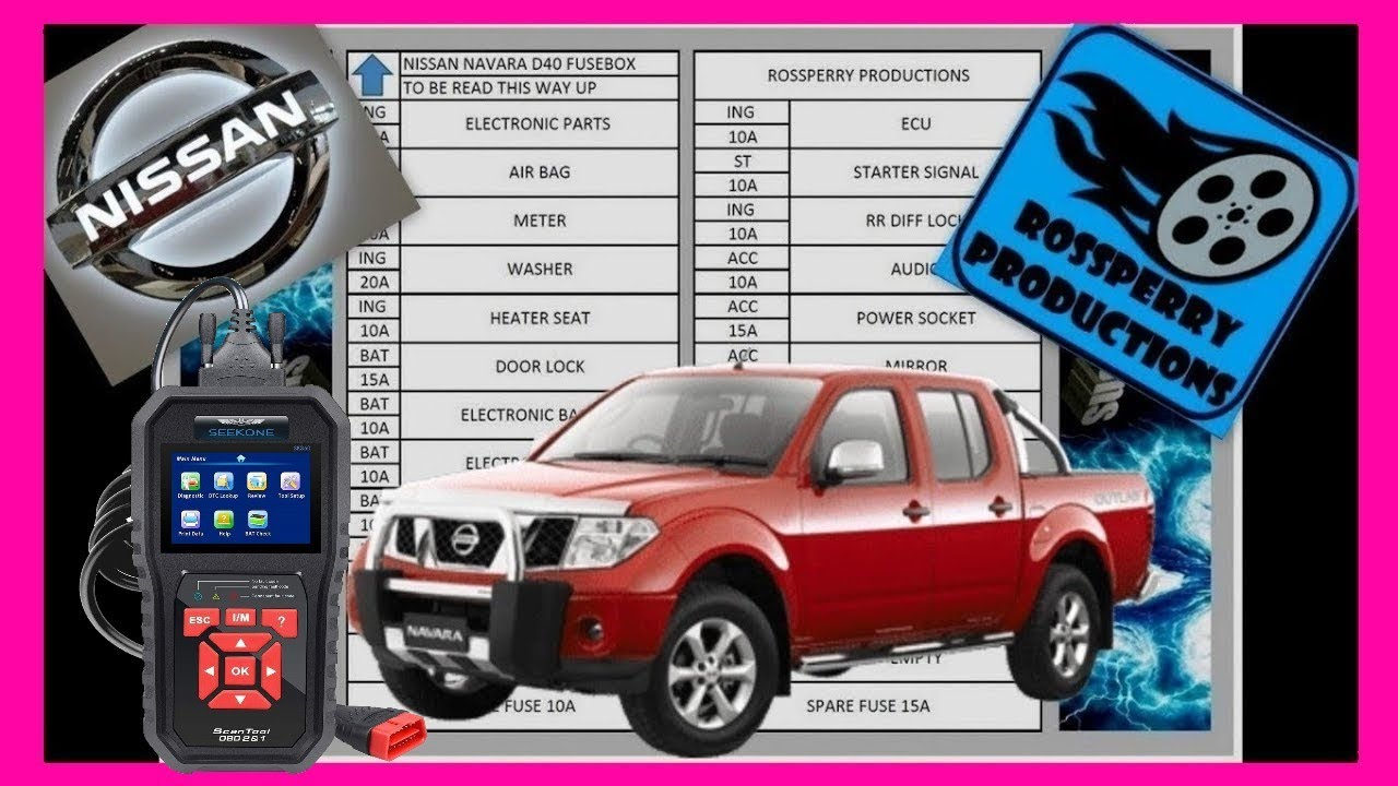 spotlight wiring diagram nissan navara nissan navara d40 fuse box and obd2 diagnostics port locations  nissan navara d40 fuse box and obd2