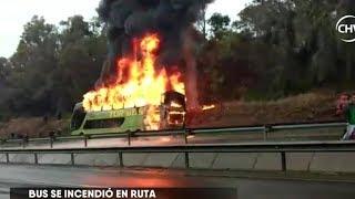 Bus de Turbus se quemó en plena ruta de San Pedro de Atacama a Santiago - CHV NOTICIAS