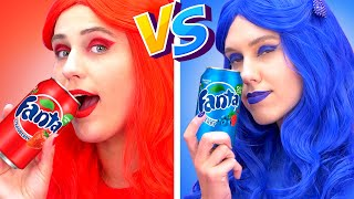 RED vs BLUE food CHALLENGE! EATING ONLY ONE COLOR FOOD FOR 24 HOURS! Last To STOP Eating! Mukbang!