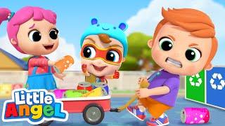 Clean Up The Trash Song | Little Angel Kids Songs & Nursery Rhymes