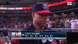 Cleveland Indians ace Corey Kluber after leading team to 20th straight victory & blanking Detroit