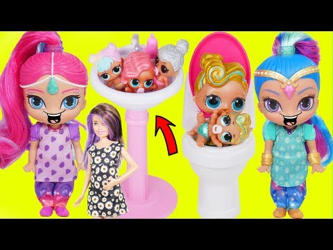LOL Surprise Dolls + Lil Sisters Morning Routine with Shimmer and Shine Babysitter