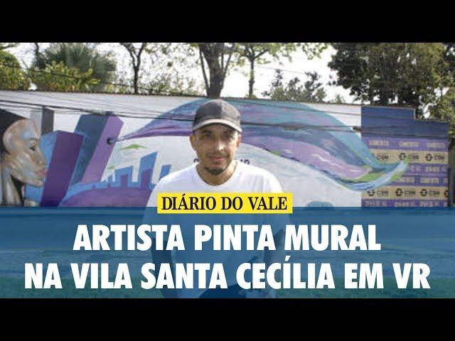 Artista pinta mural na Vila Santa Cecília em Volta Redonda