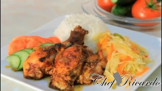 Jamaican Oven Baked Chicken Served With Rice & Veg From Chef Ricardo Cooking
