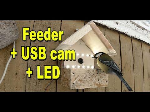 Кормушка для птиц с USB камерой - установка LED подсветки