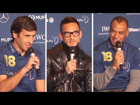 Raul, Hidetoshi Nakata & Cafu Press Conference At The Laureus World Sport Awards