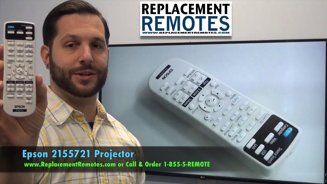 Epson 215572100 Projector Remote Control - www ReplacementRemotes com