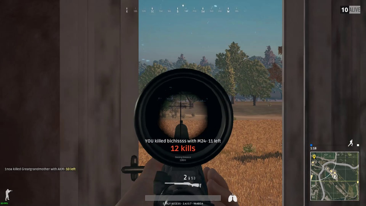 15X Scope Long Sniper Kills M24 Player Unknown Battle Grounds