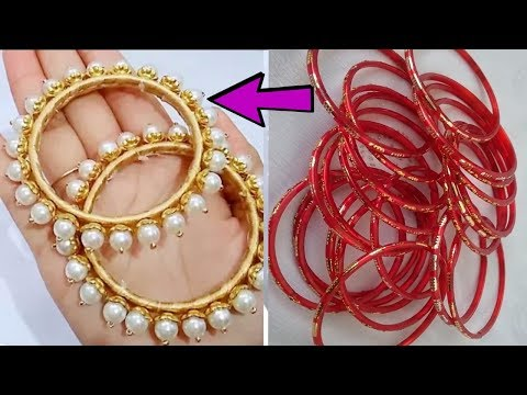 How to reuse old bangles at home | Best out of waste | DIY pearls bangles