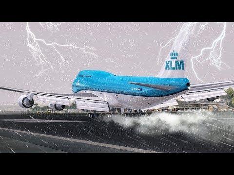 Crazy GO AROUND during a Hurricane   New Flight Simulator 2017 [P3D 4.0 - Ultra Realism]
