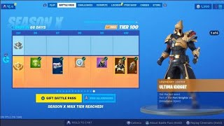 Spending V-BUCKS UNLOCKING Fortnite SEASON X BATTLE PASS Tier 100 Skin ULTIMA KNIGHT + Free V-BUCKS