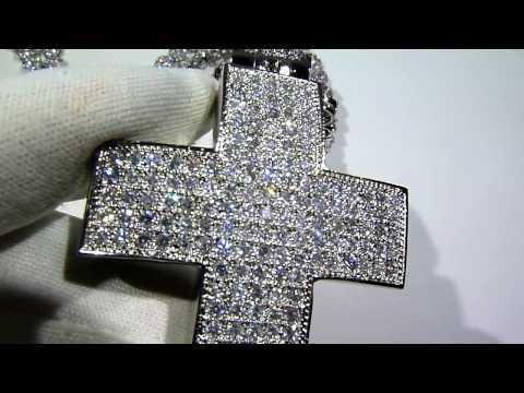 $275 SUPER High-Quality Lab Diamond PAVE Cross + Cluster Chain COMBO! - Lab Made Jewelry