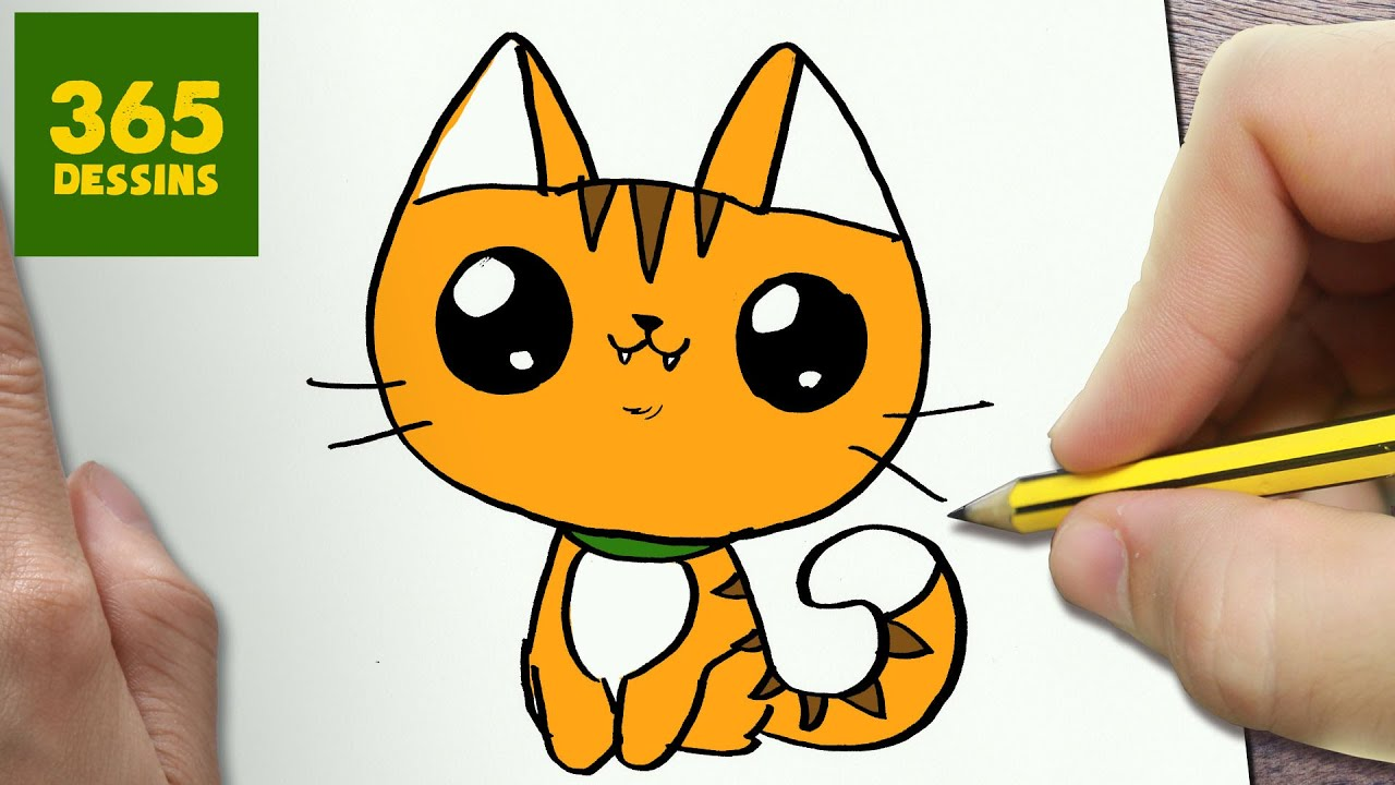 Comment dessiner chat kawaii tape par tape dessins - Modele dessin chat facile ...