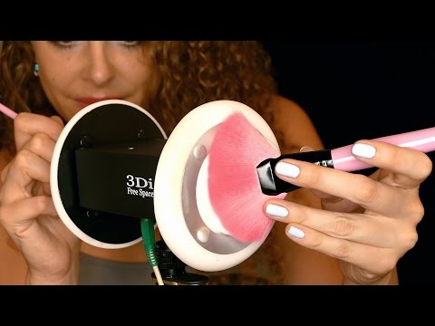 Close Up ASMR Ear Cleaning 3D with Ear Massage Brushing, Gloves, Fabric Sounds, Sticky Tape