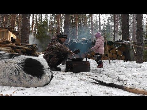Лесной ИЗОЛЯТОР! Готовимся к чему то НОВОМУ! Обед с КОСТРА. Дети в ЛЕСУ!