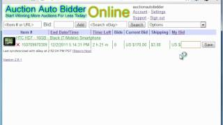 eBay Auction Sniper Online Web Based Service Demonstration - Auction Auto Bidder