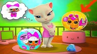 Моя Говорящая Анджела открывает 10 шаров ЛОЛ LOL Surprise  видео  для детей #УШАСТИК KIDS