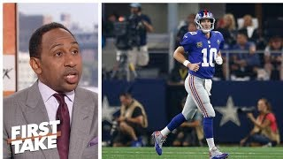 Stephen A. defends Eli Manning, blames Giants offensive line | First Take