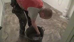 Pesutilan lattian korjaus ja pinnoitus Solmaster EP10 keskiharmaa