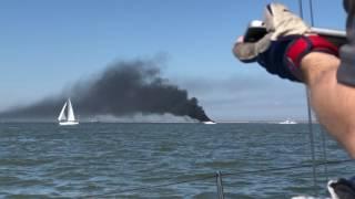 Yacht on fire, Galveston Bay