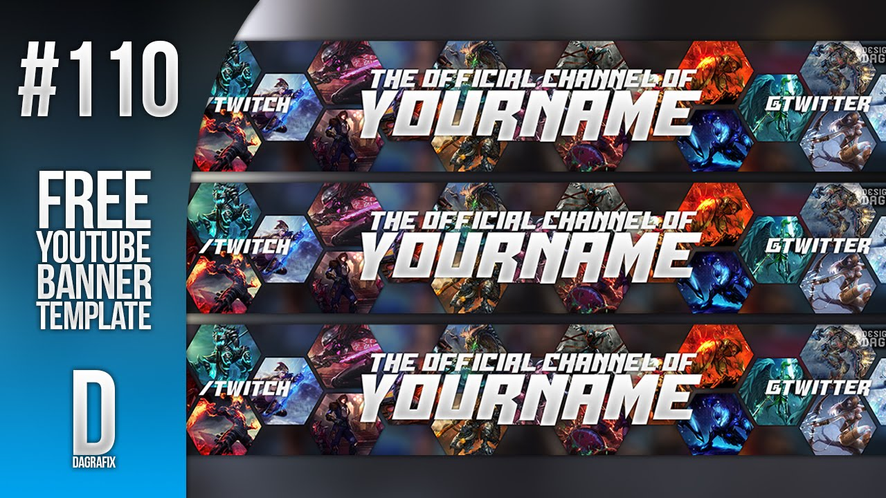 League of Legends YouTube Banner Template 110 - Free Photoshop ...