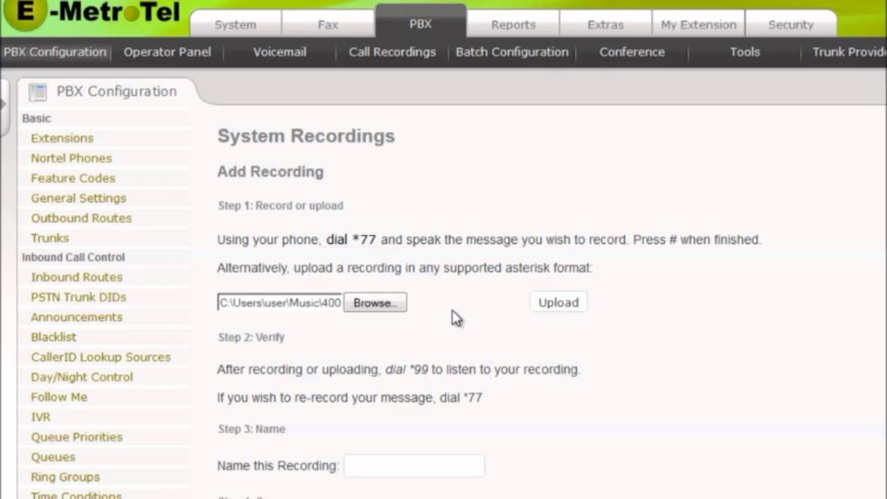 System Recordings | Documentation