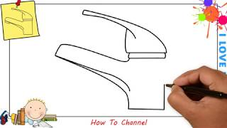 How to draw a tap water EASY step by step for kids, beginners, children 1