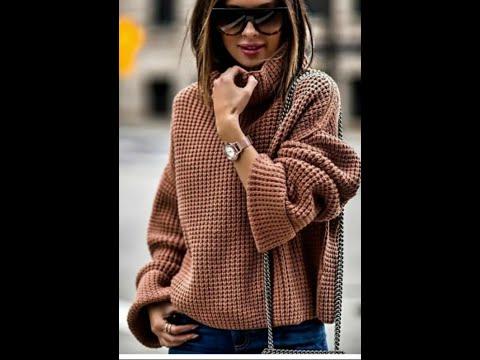 Вязание спицами объемного свитера в стиле оверсайз