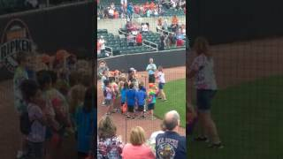My son sings national anthem at Ripken stadium