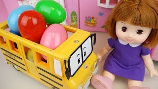 Poli school bus Surprise eggs and Baby doll refrigerator toys play