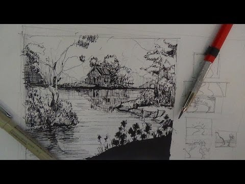 Pen ink drawing tutorials how to draw a river landscape scene youtube