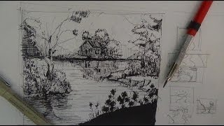 Pen & Ink Drawing Tutorials | How to draw a river landscape scene
